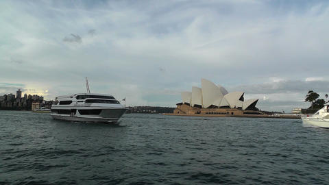 Sydney Opera House 06 ships Stock Video Footage