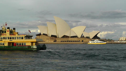 Sydney Opera House 08 ships Stock Video Footage