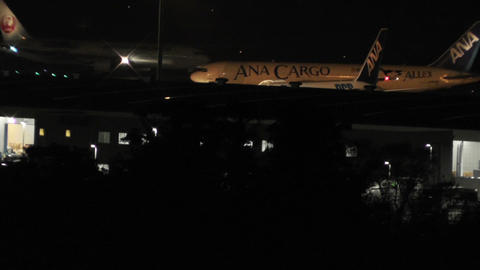 Tokyo Narita Airport at Night 09 Stock Video Footage