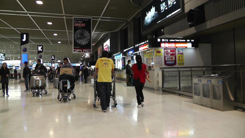 Tokyo Narita Airport Check in Area 01 fast motion timelapse Stock Video Footage