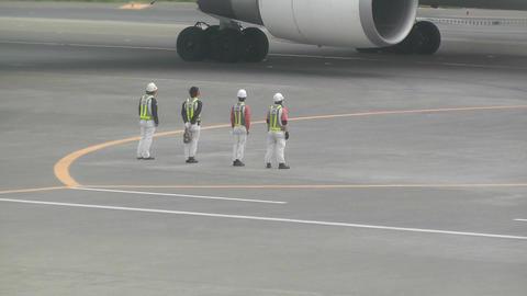 Tokyo Narita Airport Say Goodbye 01 handheld jal Stock Video Footage