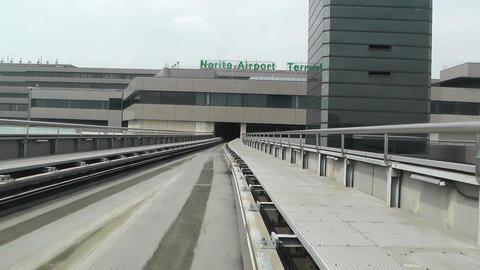 Tokyo Narita Airport Terminal Train 01 fast motion timelapse Footage