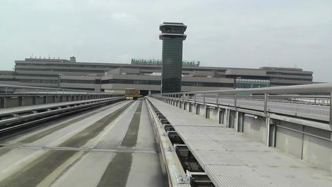 Tokyo Narita Airport Terminal Train 01 fast motion timelapse Stock Video Footage