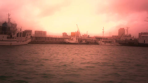 Tracking shot from vessel in Japan stylized 01 Stock Video Footage