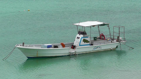 Vessel in Kabira Bay Ishigaki Okinawa Islands 01 Stock Video Footage
