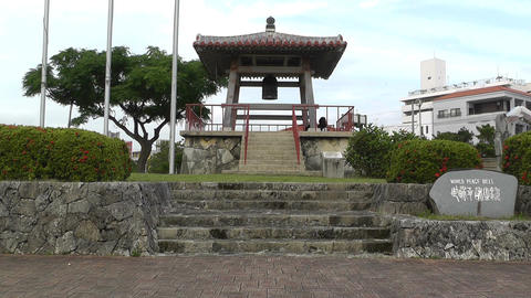 World Peace Bell in Ishigaki Okinawa Islands 01 Stock Video Footage