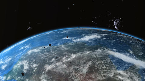 asteroid crash with the earth Stock Video Footage