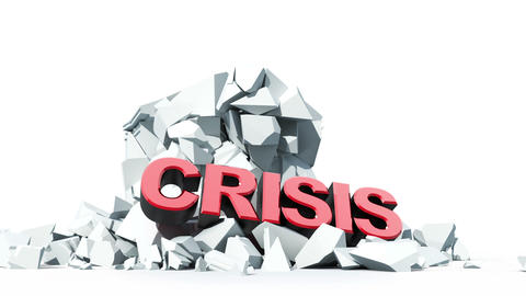 economic crisis, collapsing bank building Animation