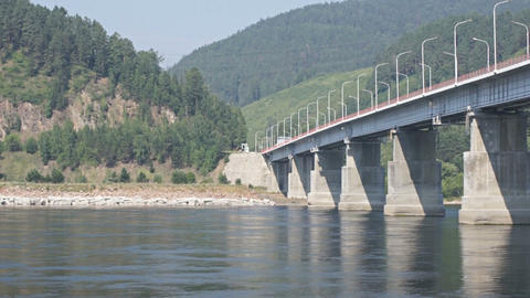 Road bridge over Siberian Yenisei River Stock Video Footage