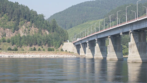Road bridge over Siberian Yenisei River Stock Video Footage