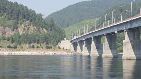 Road bridge over Siberian Yenisei River Footage