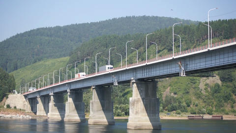 Road bridge over Siberian Yenisei River 03 Stock Video Footage