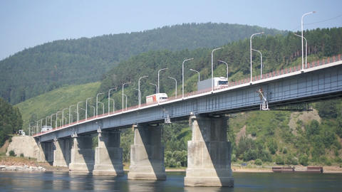Road bridge over Siberian Yenisei River 03 Footage