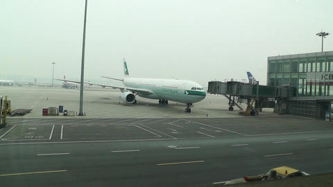 Beijing Capital International Airport 01 cathay pacific Stock Video Footage