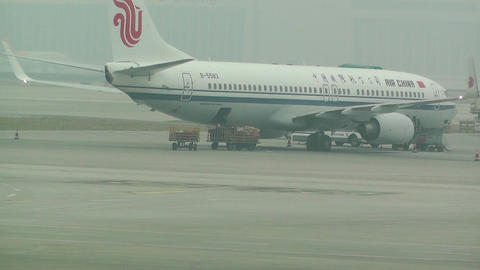 Beijing Capital International Airport 03 air china Stock Video Footage