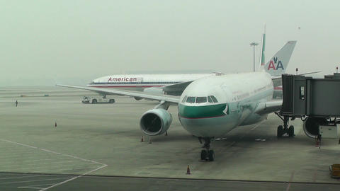 Beijing Capital International Airport 05 cathay pacific... Stock Video Footage