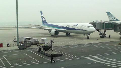 Beijing Capital International Airport 07 ana handheld Stock Video Footage