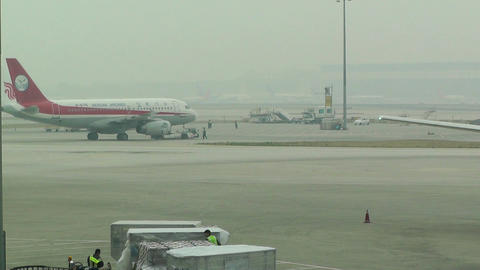 Beijing Capital International Airport 09 sichuan airlines... Stock Video Footage