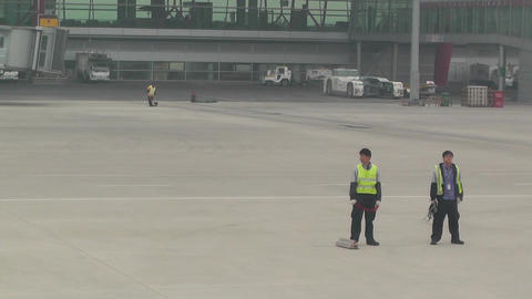 Beijing Capital International Airport 13 say goodbye... Stock Video Footage