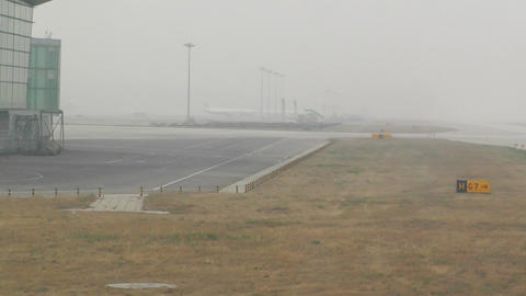 Beijing Capital International Airport 15 on the runway... Stock Video Footage