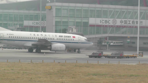 Beijing Capital International Airport 15 on the runway handheld Footage