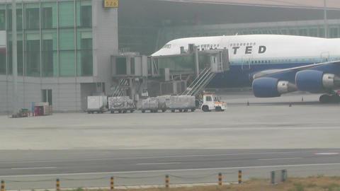 Beijing Capital International Airport 16 on the runway... Stock Video Footage