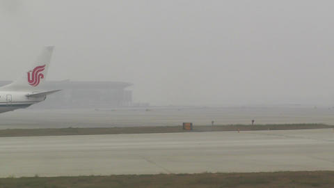 Beijing Capital International Airport 18 on the runway... Stock Video Footage