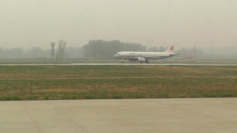 Beijing Capital International Airport 20 on the runway... Stock Video Footage