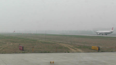 Beijing Capital International Airport 24 on the runway... Stock Video Footage