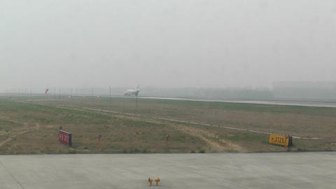 Beijing Capital International Airport 24 on the runway... Stock Video Footage