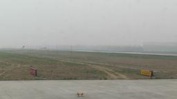 Beijing Capital International Airport 24 on the runway handheld Footage