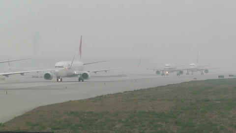Beijing Capital International Airport 26 on the runway... Stock Video Footage