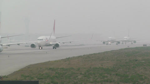 Beijing Capital International Airport 26 on the runway... Stock Video Footage