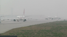 Beijing Capital International Airport 26 on the runway waiting line handheld Footage