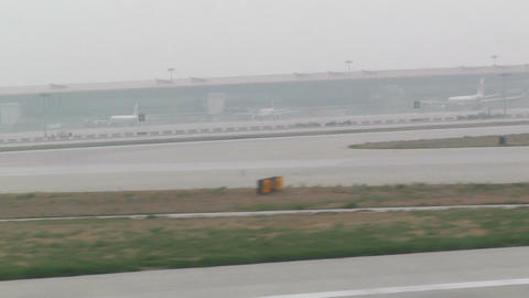 Beijing Capital International Airport 28 takeoff h Stock Video Footage