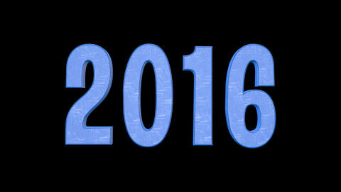 2016 Happy New Year Epic 3 D Gold Words + Alpha Channel Animation