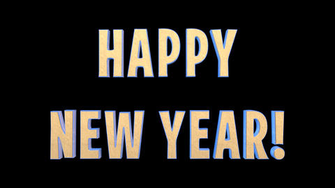 2016 Happy New Year Epic 3 D Gold Words + Alpha Channel Stock Video Footage