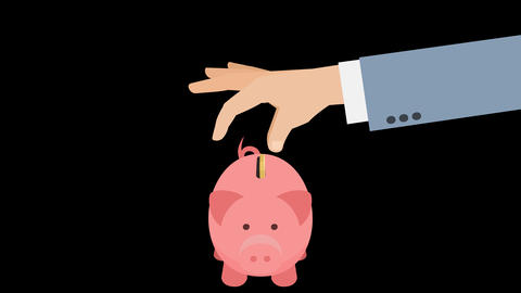 Hand Puts Money In Piggy Bank Animation