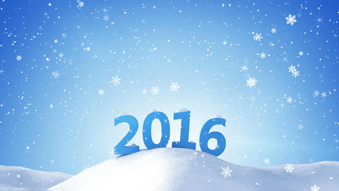 new year 2016 sign in snow drift loopable 4k (4096x2304) Animation