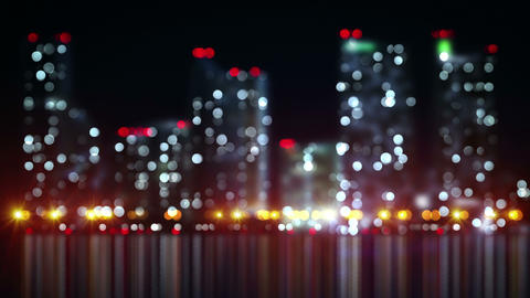 blurred skyscrapers on shore loopable urban background 4k (4096x2304) Animation