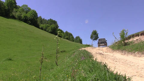 Off Road Vehicle Running On A Country Road 106 stock footage