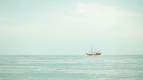 2498 sailboat in the sea at the horizon Footage