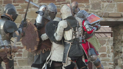 2544 Battle knights in armor in the castle during the day Footage