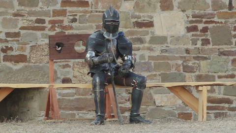 2543 Knights in armor resting in a fortress Footage
