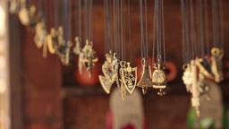 2551 metal pendants swaying in the wind Footage