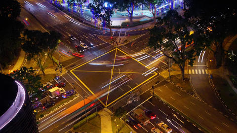 Night city crossroad Footage