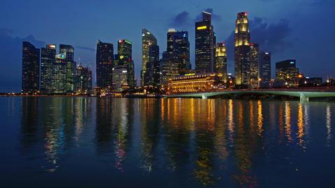 Singapore night skyline Footage