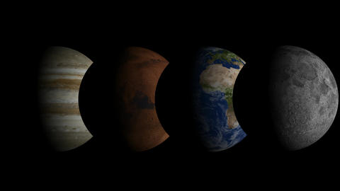 Time lapse - Moon, Earth, Mars and Jupiter Animation