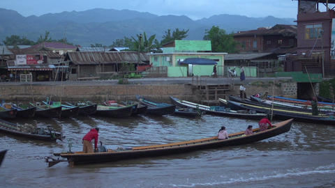 Nyaung Shwe, Longboats Floating In The Harber stock footage