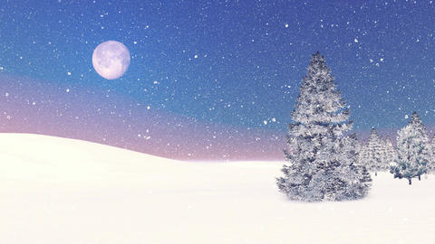 Snowy firs and snowfall at dawn. Decorative 3D animation Footage